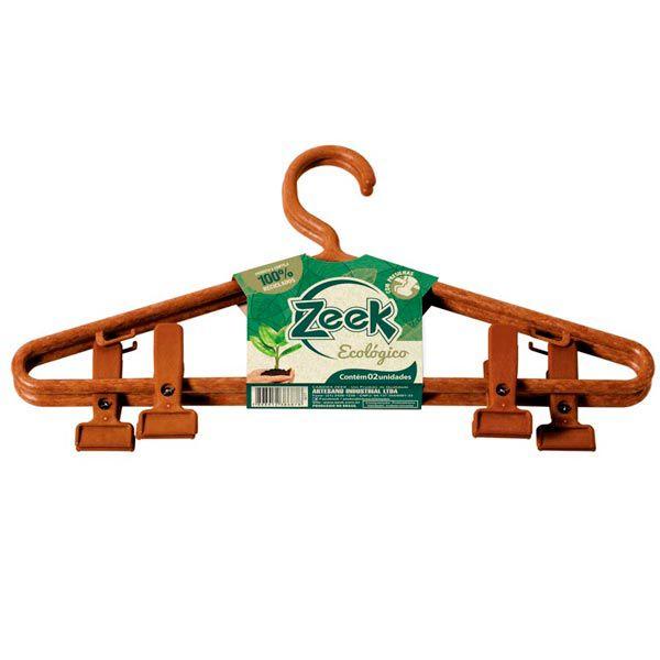 Cabide Ecológico Adulto com Presilhas Zeek - 02 und