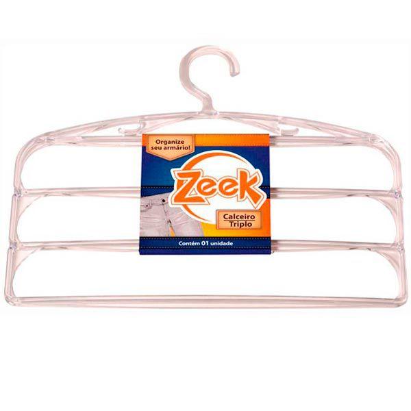 Kit com 12 Cabides Triplos (Calceiro) Cristal Zeek