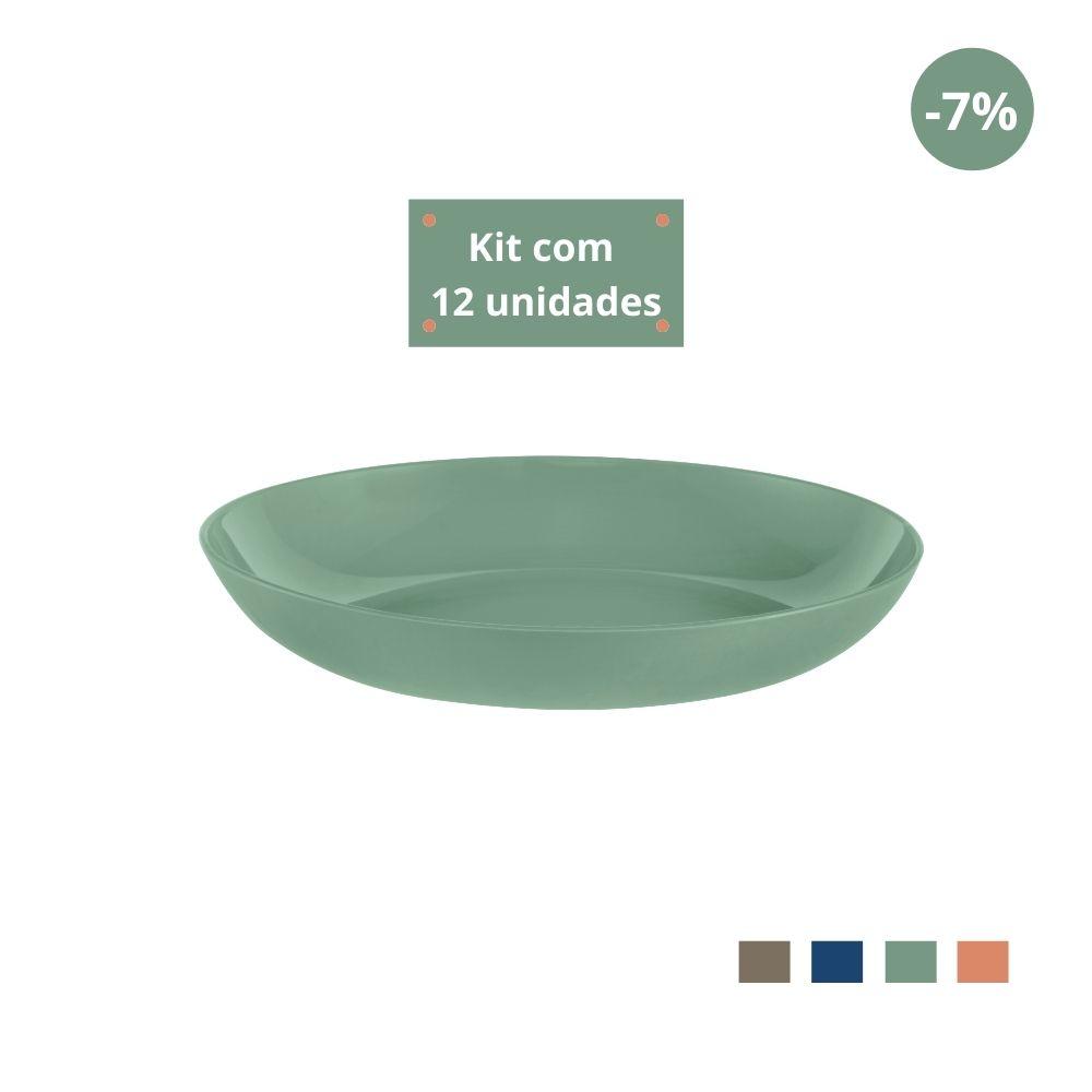 Kit com 12 Pratos Fundos em Plástico Zeek Linha Classic
