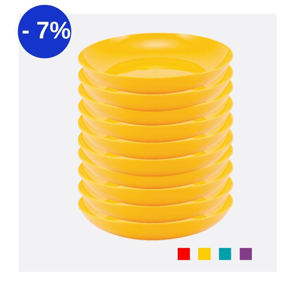 Kit com 12 Pratos Fundos em Plástico Zeek Linha POP
