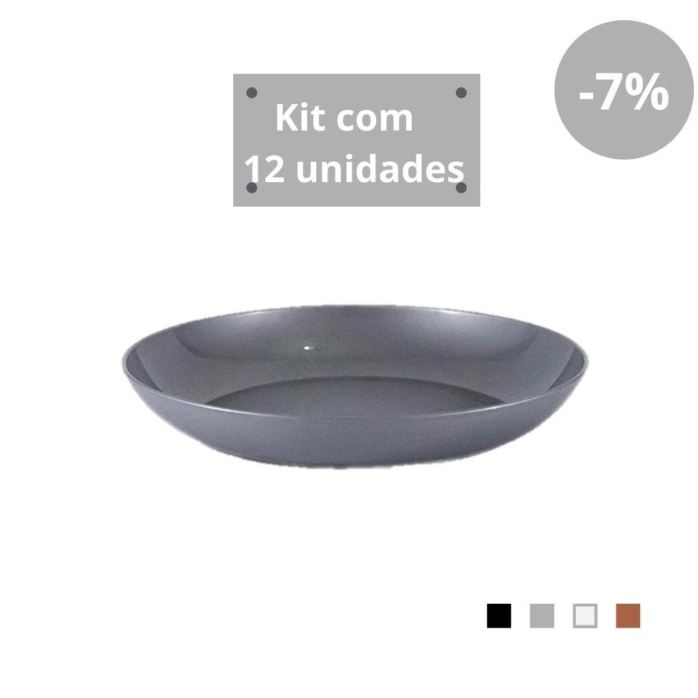 Kit com 12 Pratos Fundos em Plástico Zeek Linha Style