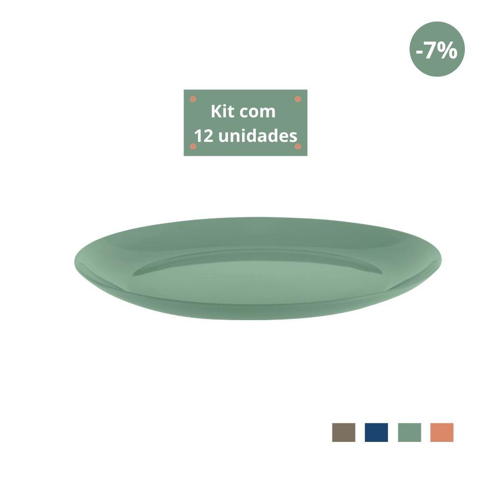 Kit com 12 Pratos Refeição em Plástico Zeek Linha Classic