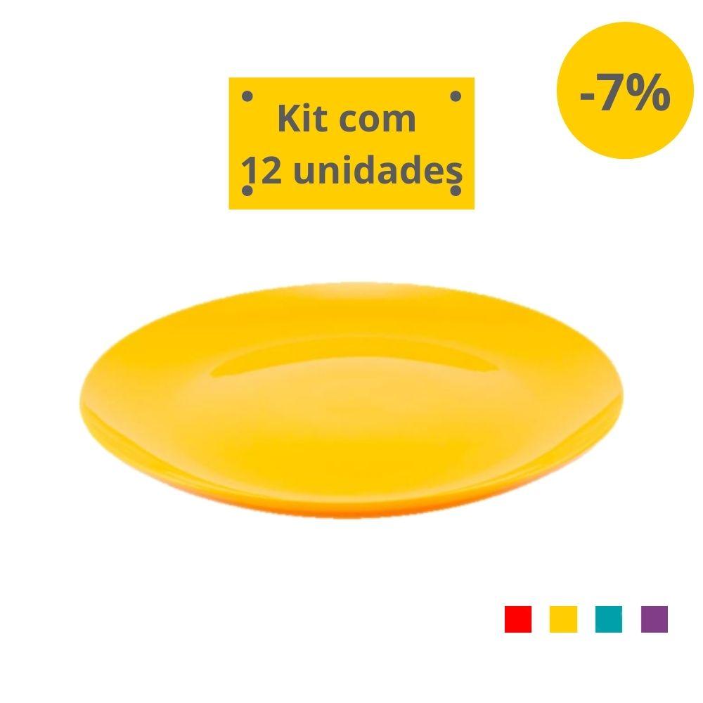 Kit com 12 Pratos Refeição em Plástico Zeek Linha POP