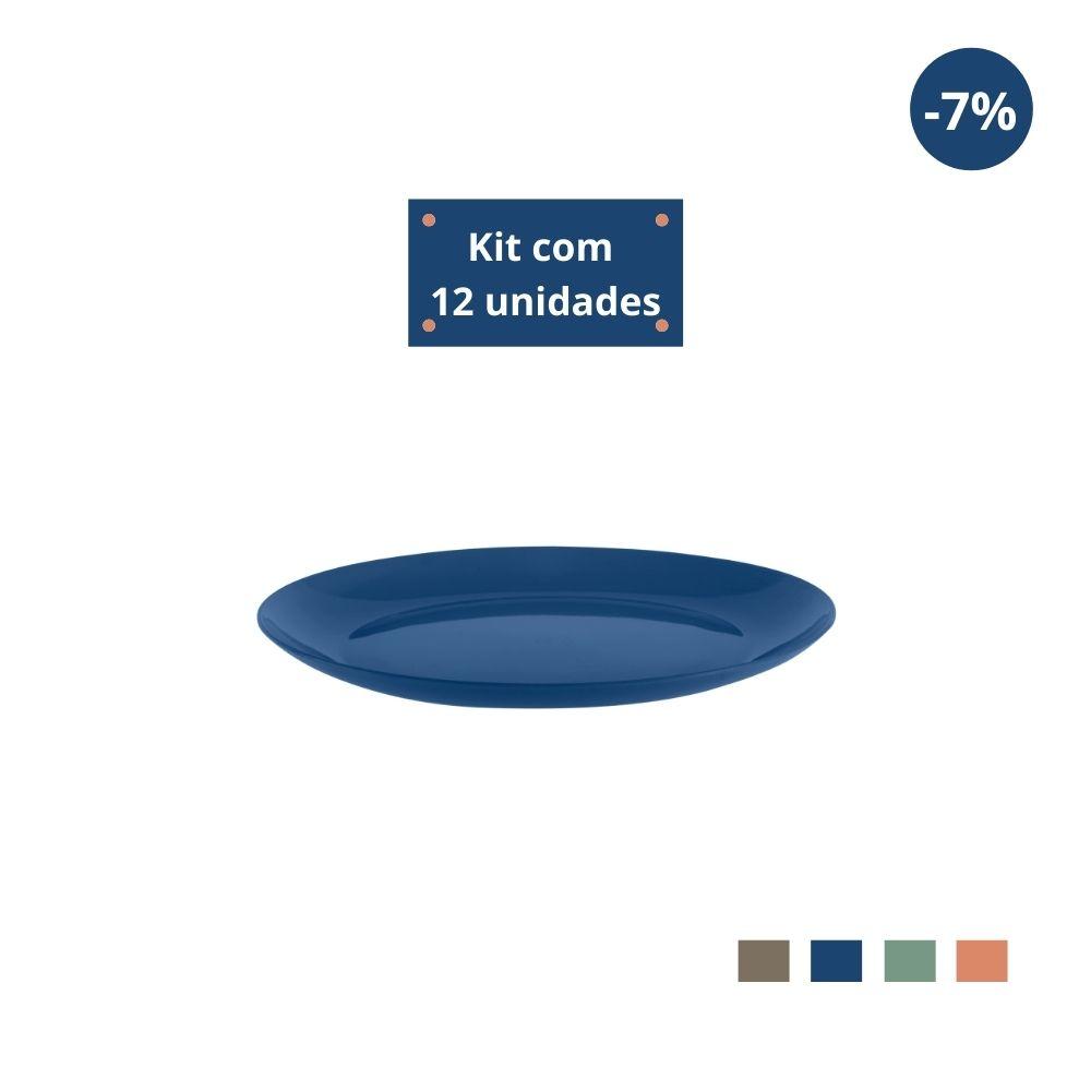 Kit com 12 Pratos Sobremesa em Plástico Zeek Linha Classic