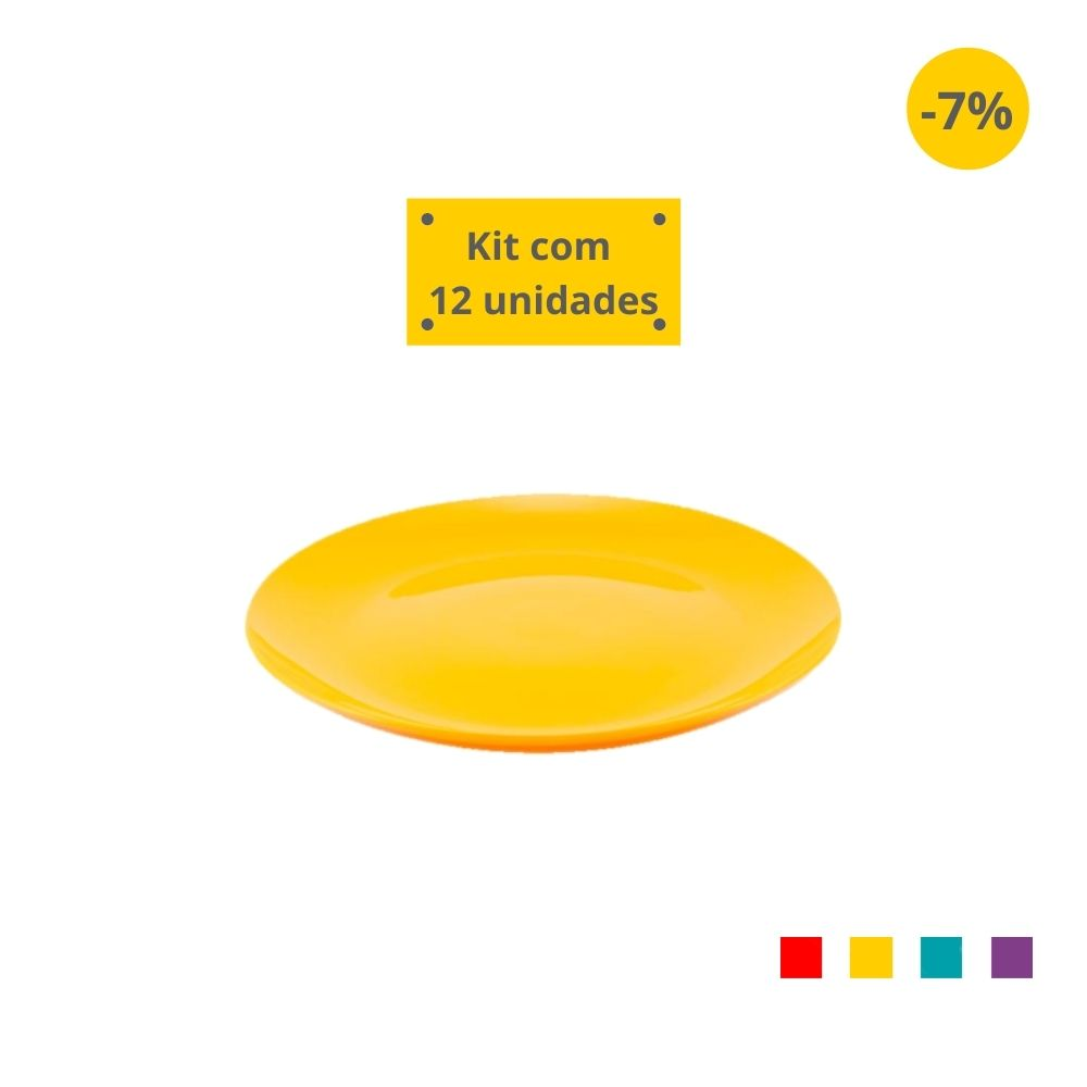 Kit com 12 Pratos Sobremesa em Plástico Zeek Linha POP