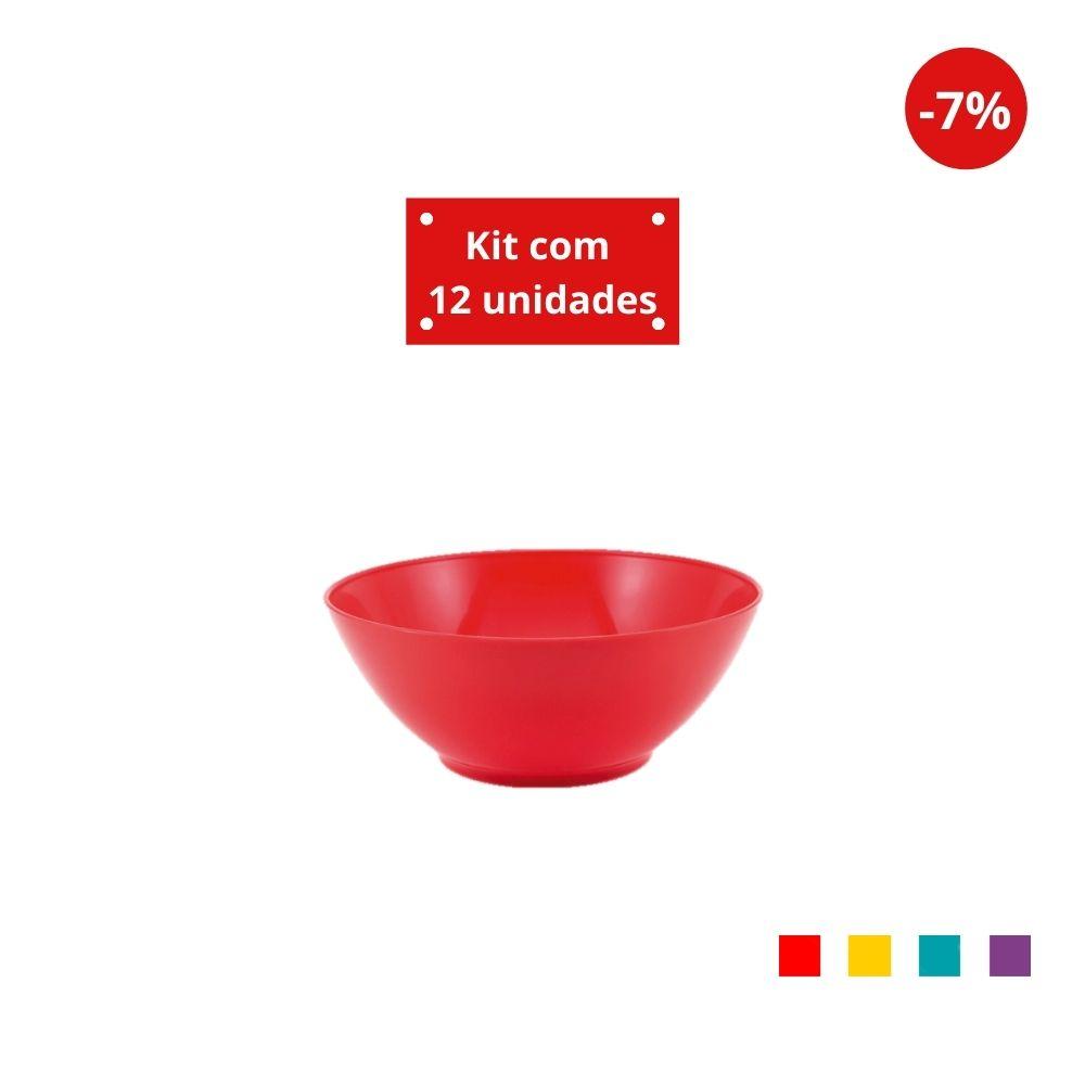 Kit com 12 Tigelas Cereal 750ml em Plástico Zeek Linha POP