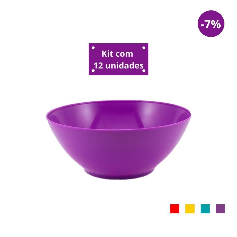 Kit com 12 Tigelas Saladeira 1,8l em Plástico Zeek Linha POP