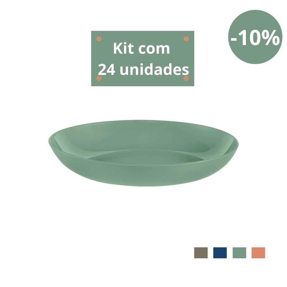 Kit com 24 Pratos Fundos em Plástico Zeek Linha Classic