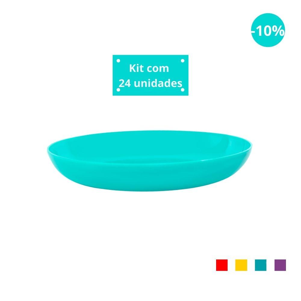 Kit com 24 Pratos Fundos em Plástico Zeek Linha POP