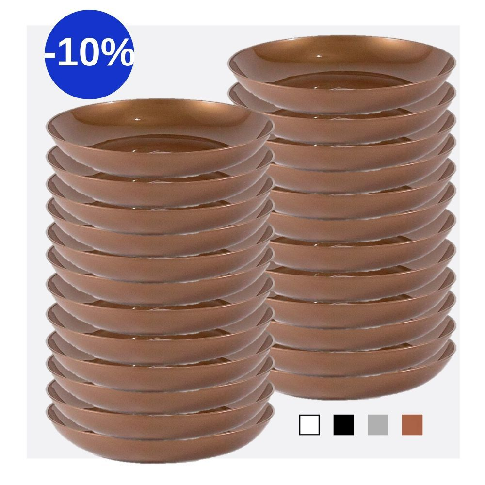 Kit com 24 Pratos Fundos em Plástico Zeek Linha Style