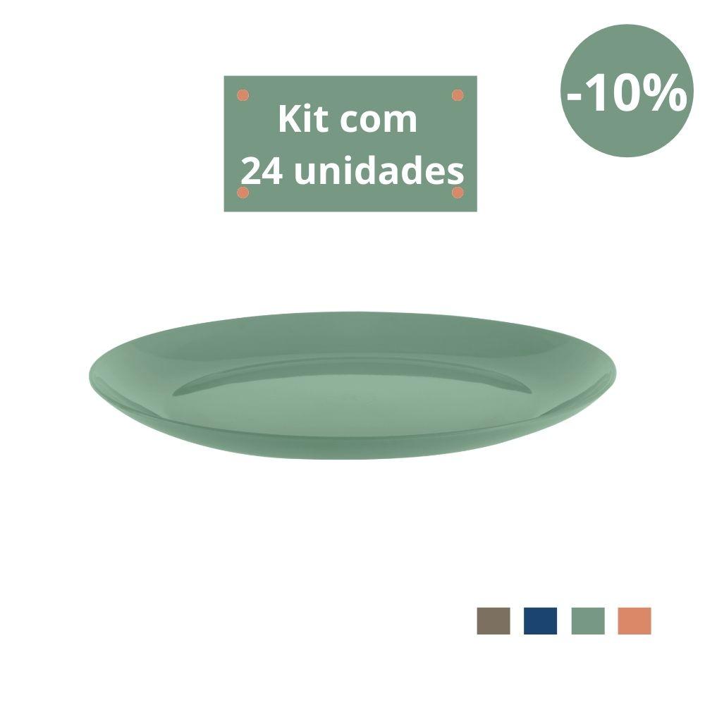 Kit com 24 Pratos Refeição em Plástico Zeek Linha Classic