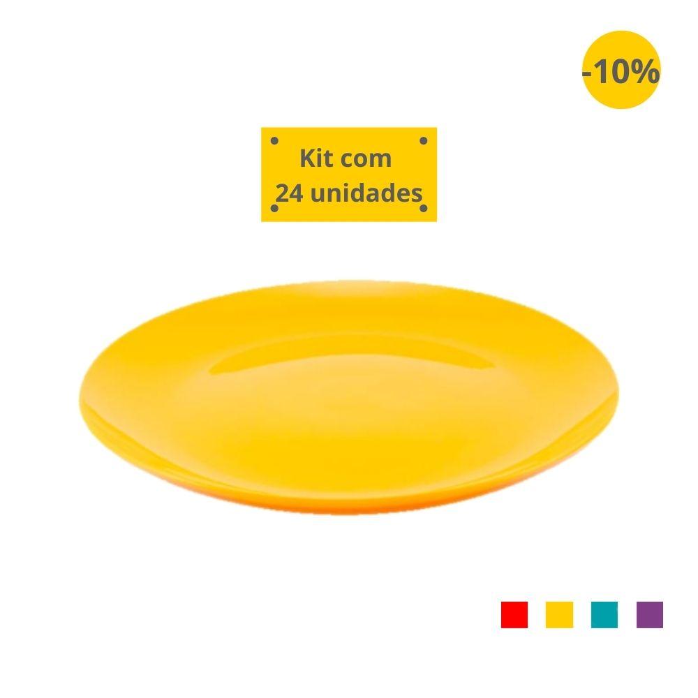Kit com 24 Pratos Refeição em Plástico Zeek Linha POP