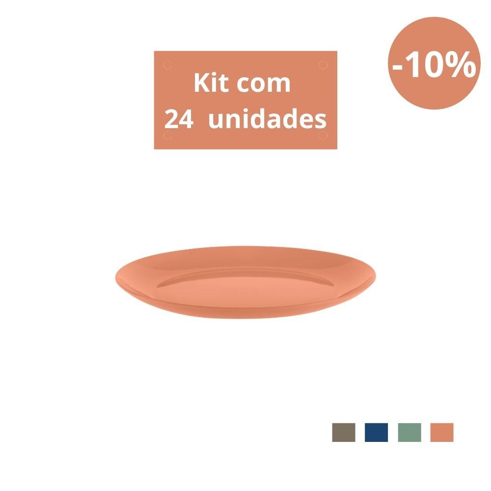 Kit com 24 Pratos Sobremesa em Plástico Zeek Linha Classic
