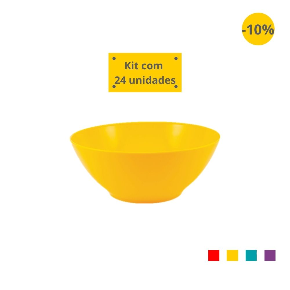 Kit com 24 Tigelas Saladeira 1,8l em Plástico Zeek Linha POP