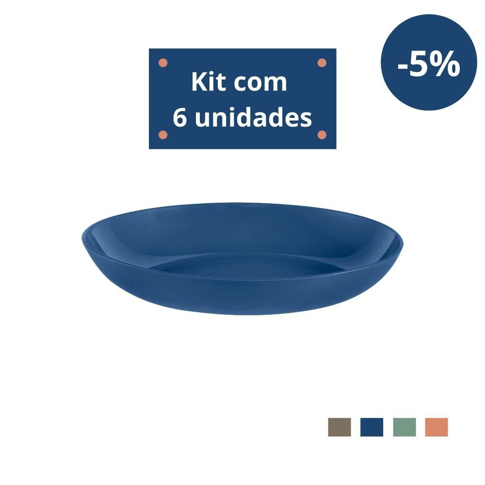 Kit com 6 Pratos Fundos em Plástico Zeek Linha Classic