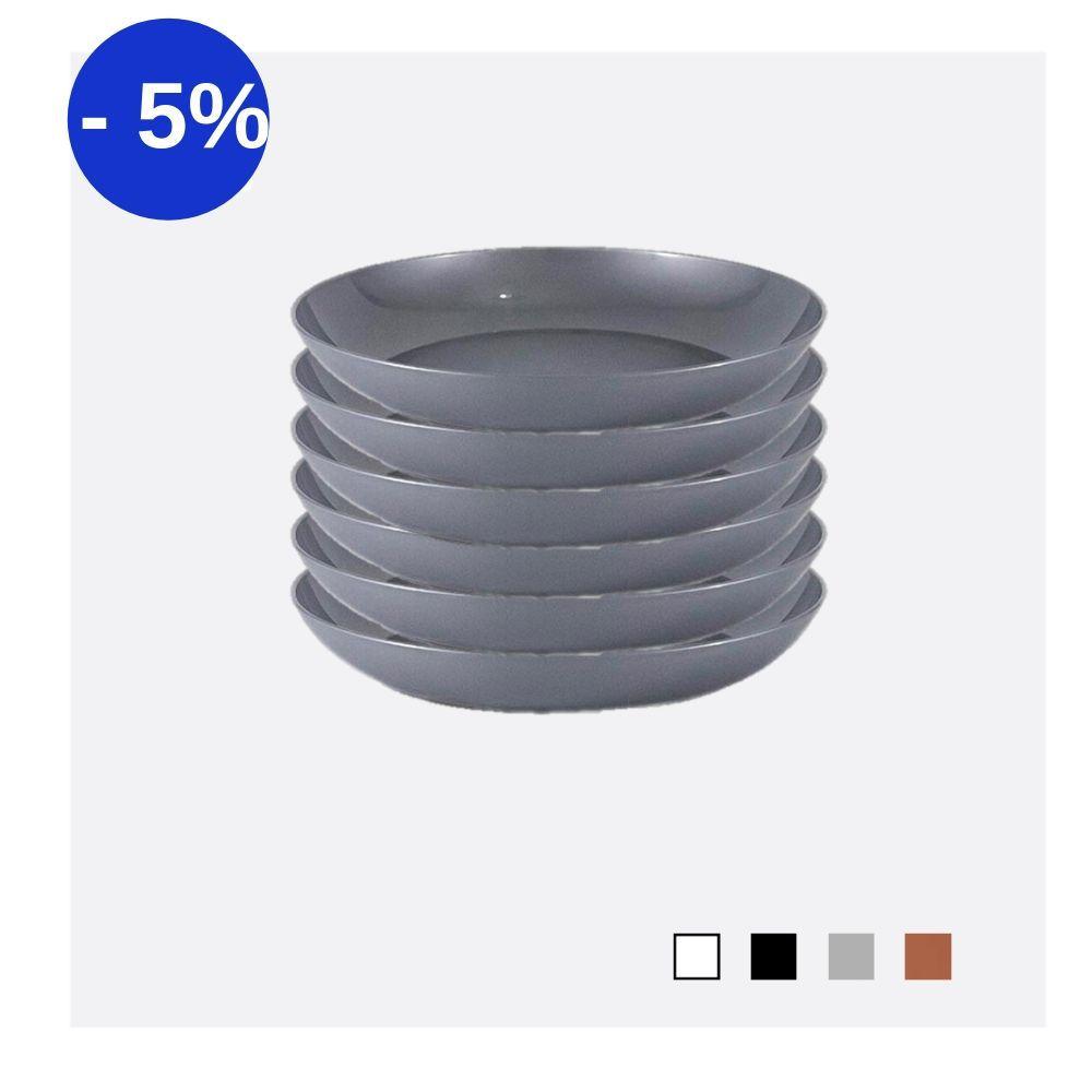 Kit com 6 Pratos Fundos em Plástico Zeek Linha Style