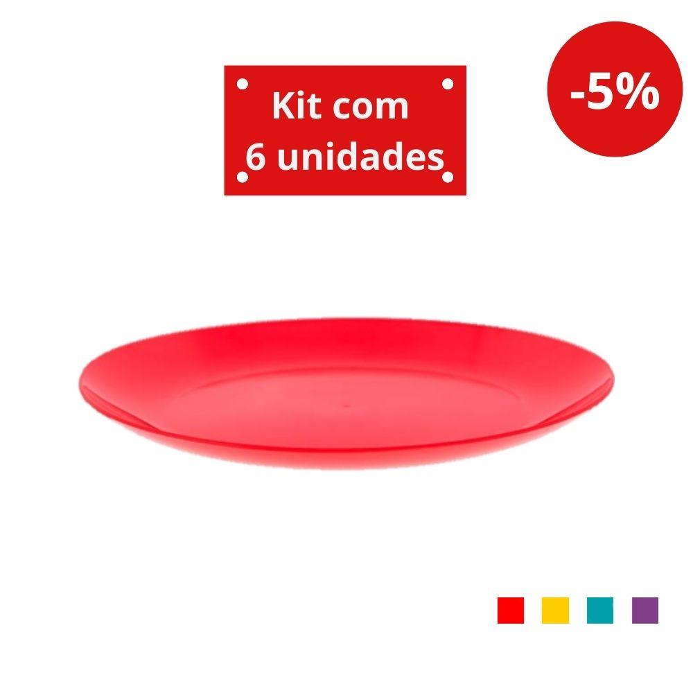 Kit com 6 Pratos Refeição em Plástico Zeek Linha POP