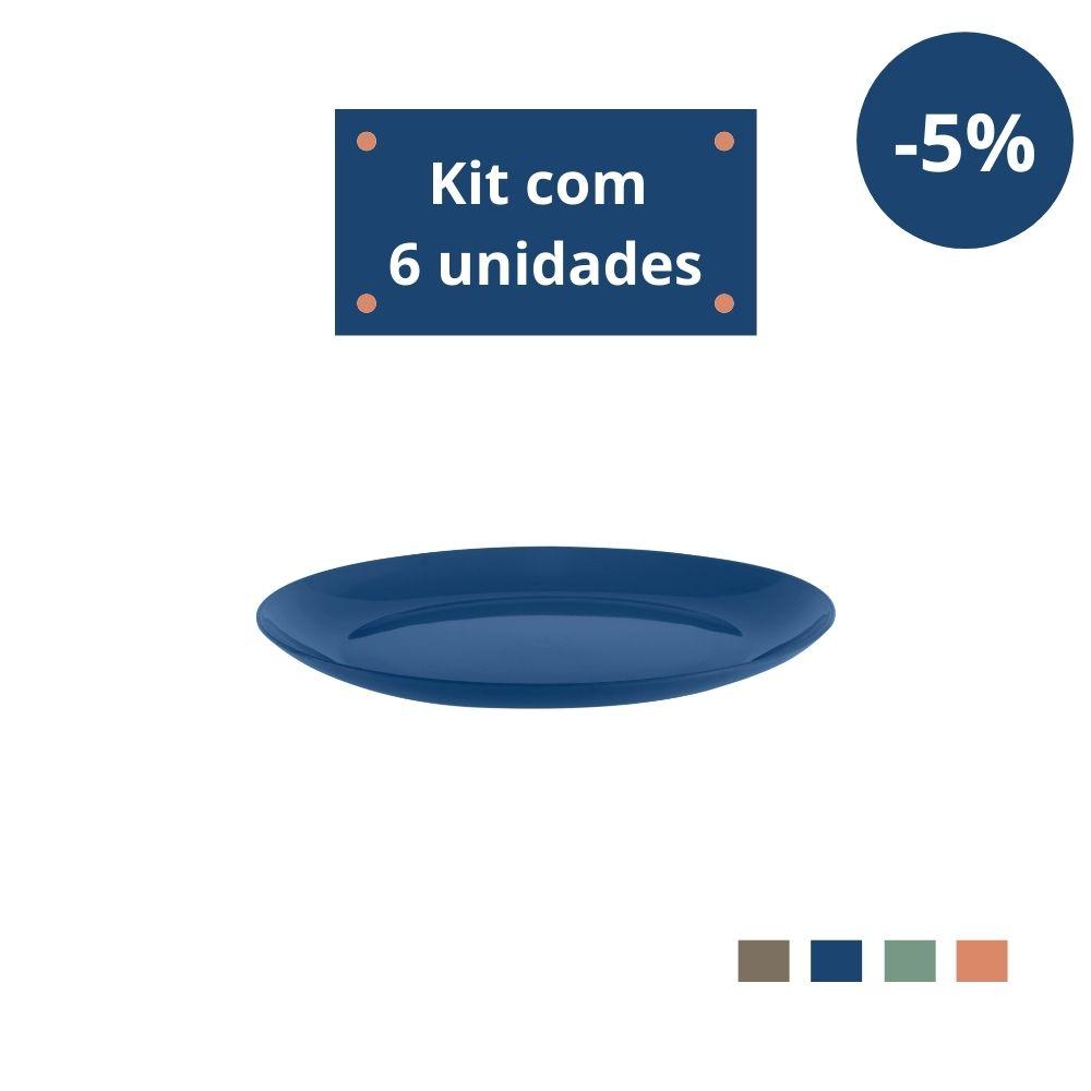Kit com 6 Pratos Sobremesa em Plástico Zeek Linha Classic
