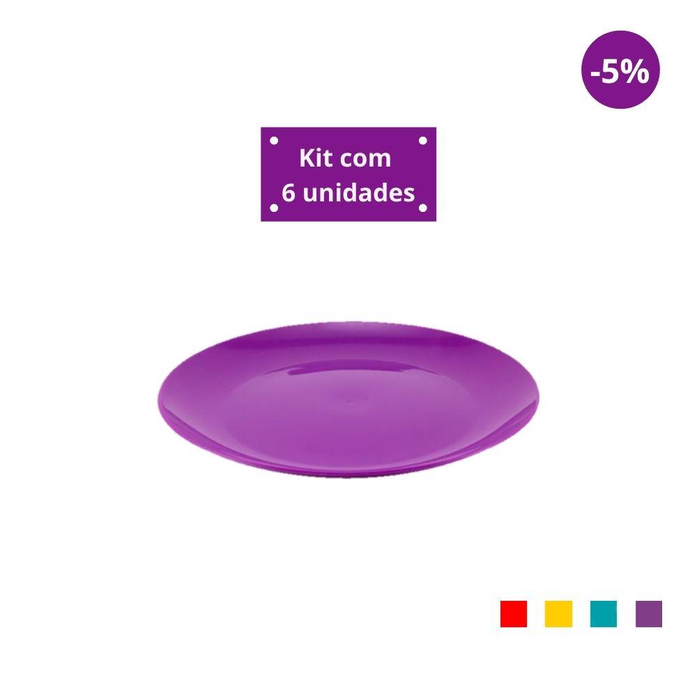 Kit com 6 Pratos Sobremesa em Plástico Zeek Linha POP