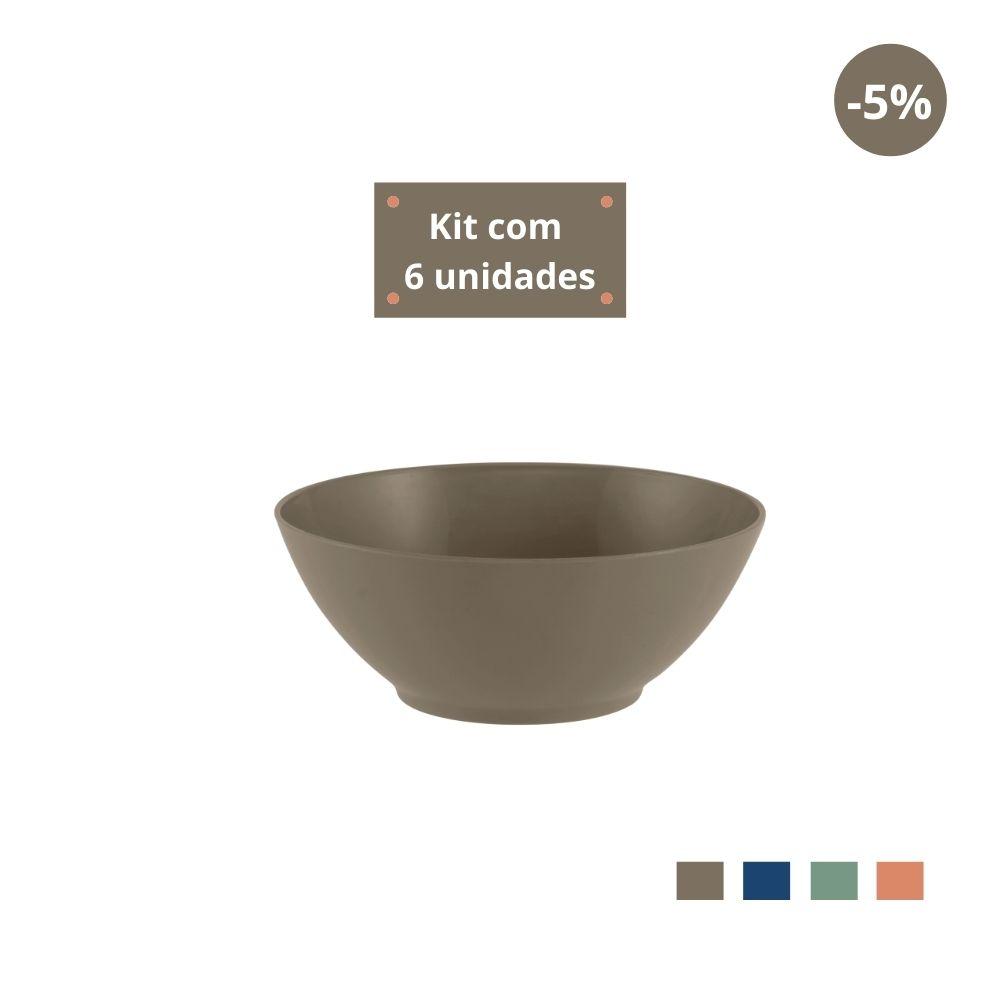 Kit com 6 Tigelas Cereal 750ml em Plástico Zeek Linha Classic