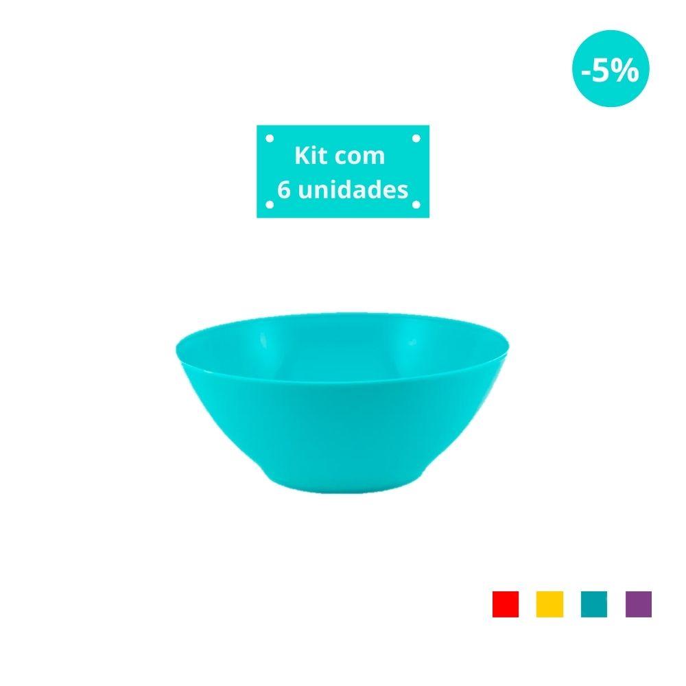 Kit com 6 Tigelas Cereal 750ml em Plástico Zeek Linha POP