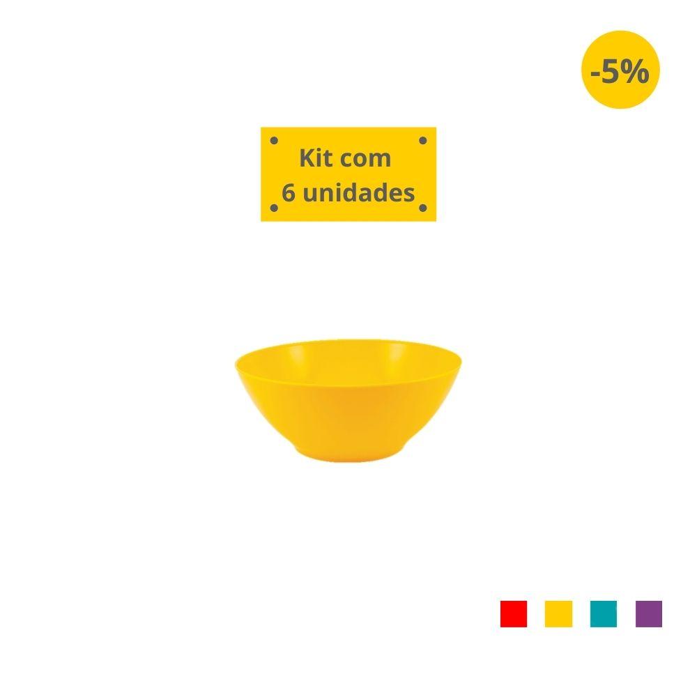 Kit com 6 Tigelas Sobremesa 300 ml em Plástico Zeek Linha POP