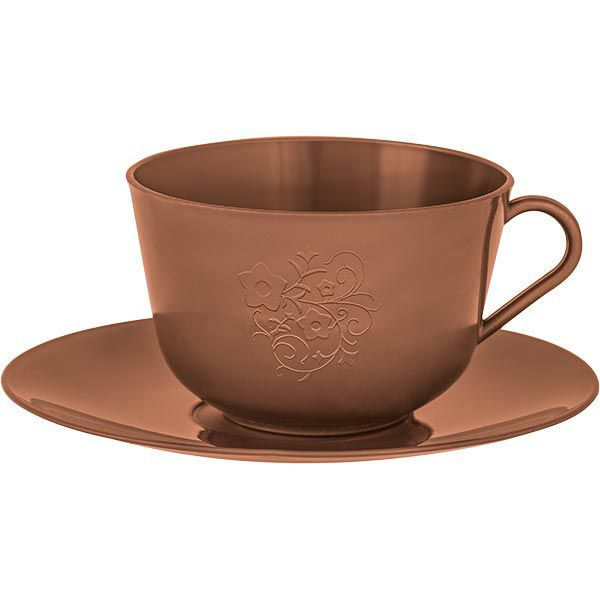 Xícara de Chá com Pires em Plástico Zeek Linha Style