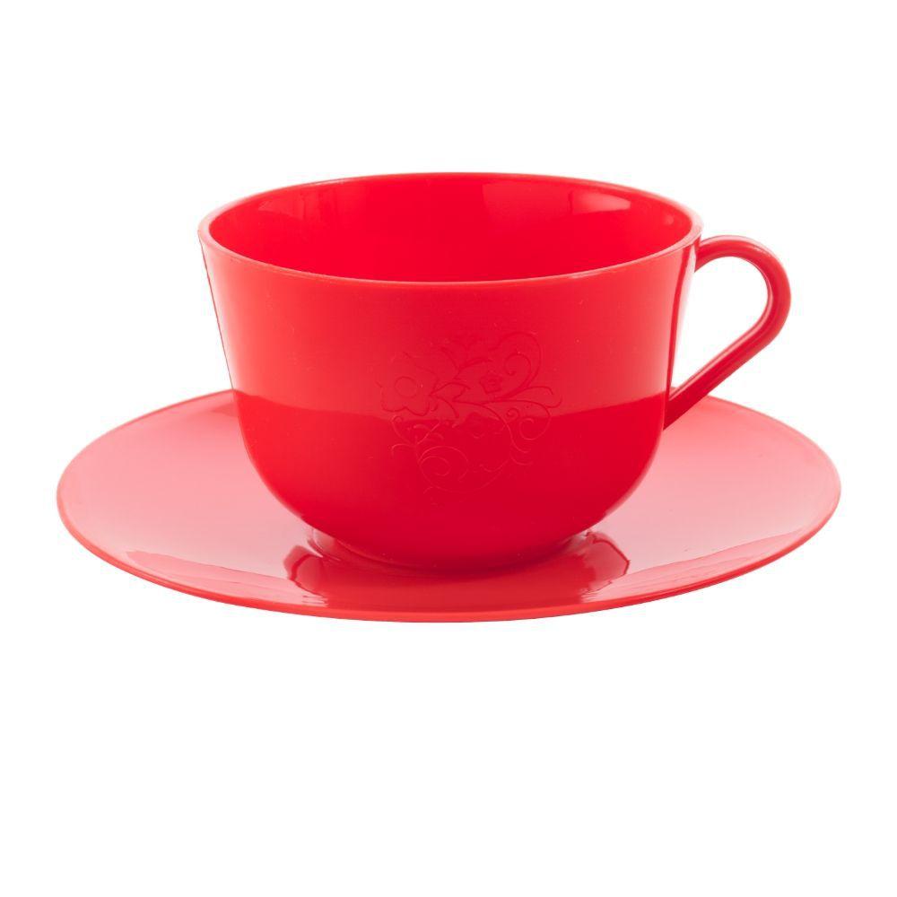 Xícara de Chá com Pires em Plástico Zeek Linha POP