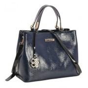 Bolsa feminina mão/transversal verniz azul Chenson 2649