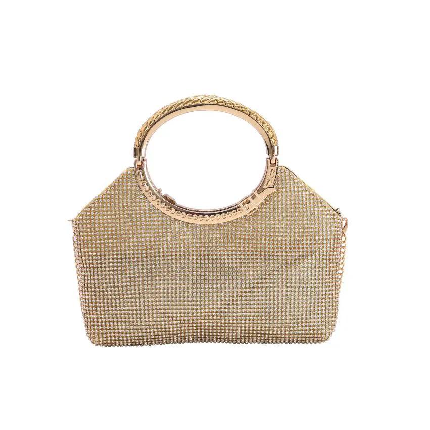 Bolsa feminina clutch de festa Glamour Noite dourado Chenson 2610