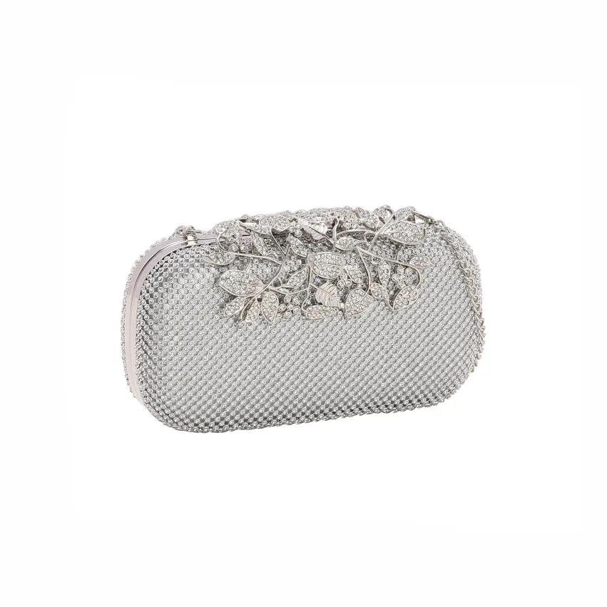 Bolsa feminina clutch de festa prata 2604