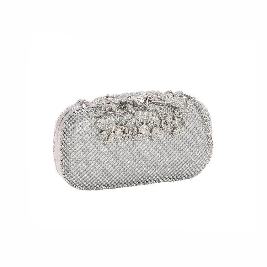 Bolsa feminina clutch de festa Glamour Noite prata Chenson 2604