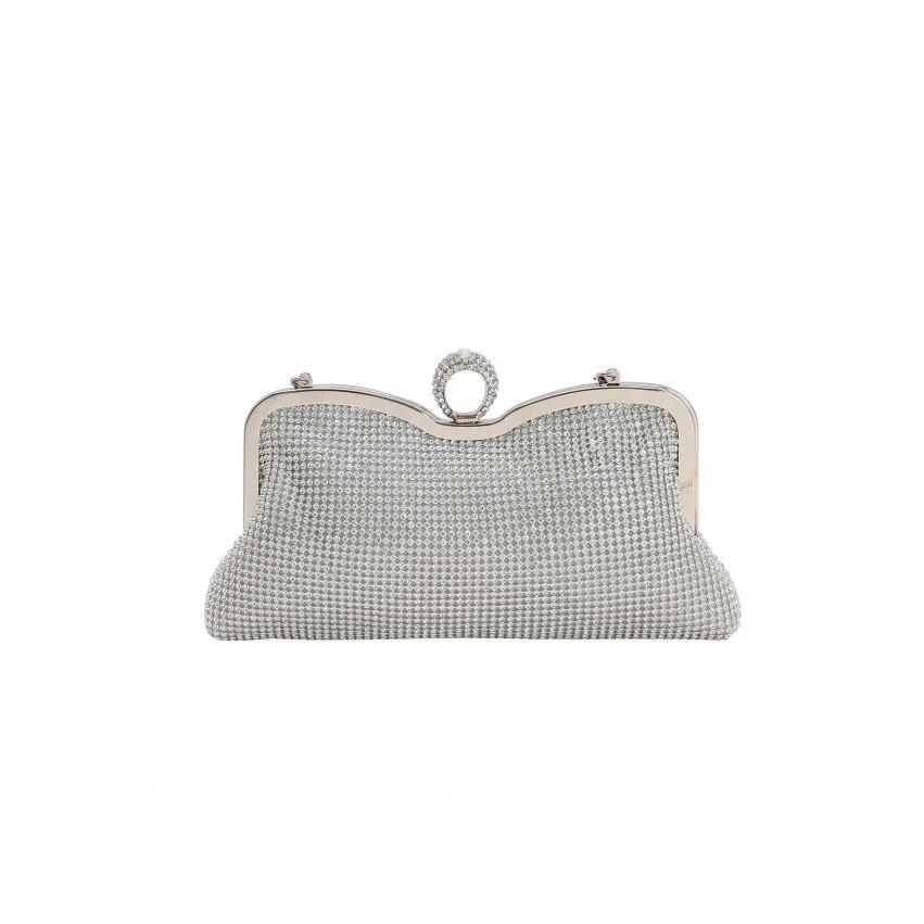 Bolsa feminina clutch de festa prata 2607