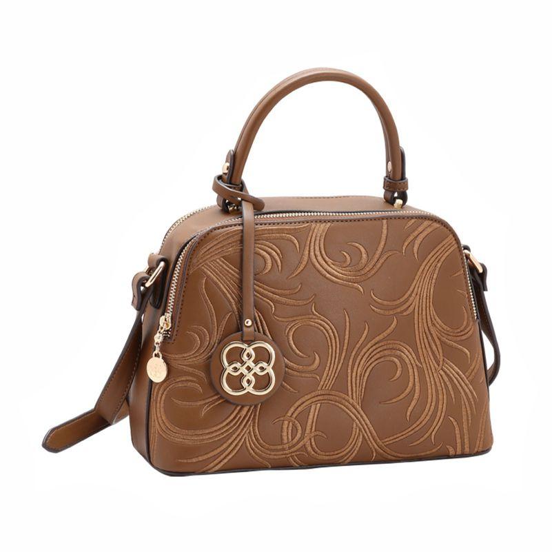 Bolsa Feminina de Mão Bordado Deluxe marrom Chenson 2232