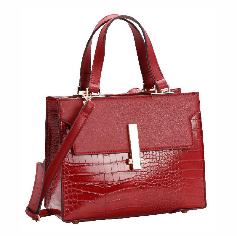 Bolsa Feminina de mão Croco Deluxe vermelho Chenson 1828