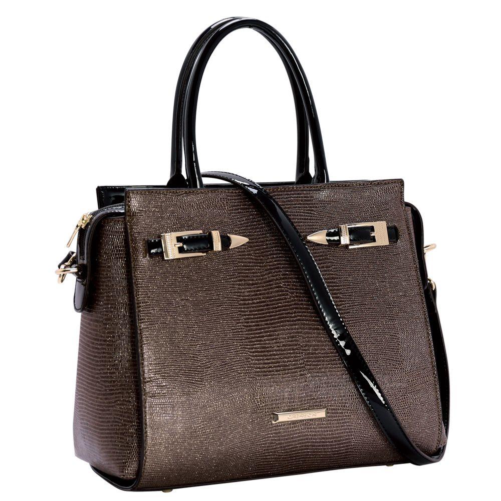 d94249324 Bolsa Feminina de Mão Detalhes Em Verniz Chenson 81154 Marrom - Bergamoda  Bolsas e Acessórios