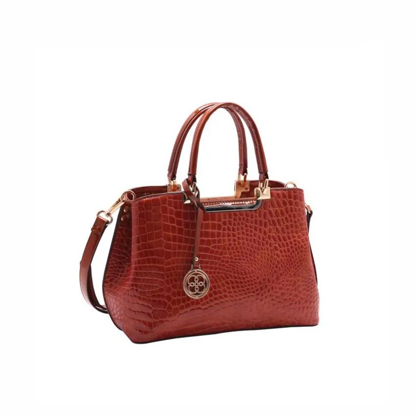 Bolsa feminina de mão/transversal Croco Verniz Terra Chenson 3215