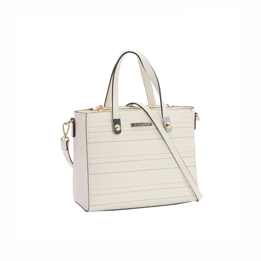 Bolsa feminina de mão/transversal Listra Relevo Off White Chenson 2939