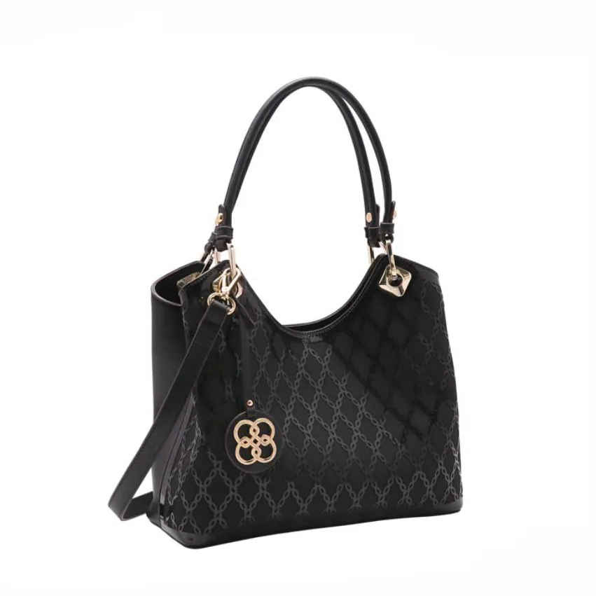 Bolsa feminina de mão/transversal Verniz Laser preto Chenson 3250