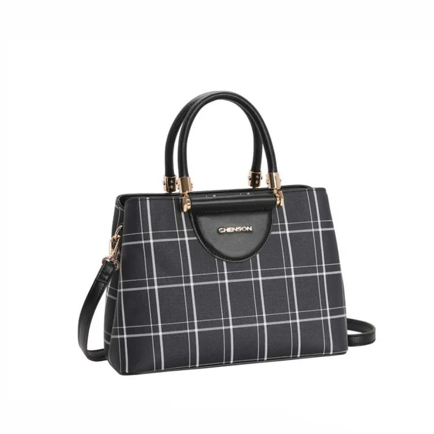 Bolsa feminina de mão/transversal Xadrez Lady preto Chenson 3206