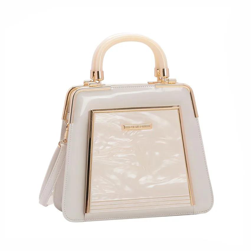 Bolsa feminina mão/transversal verniz Glamour Marmorizado Off White Chenson 3019