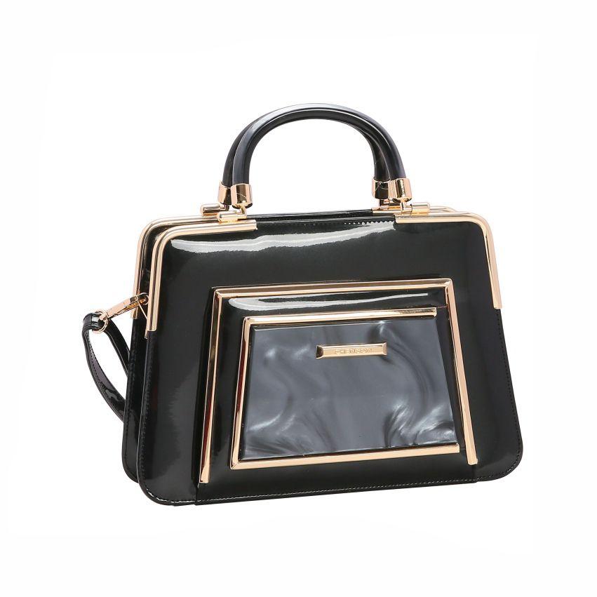 Bolsa feminina mão/transversal verniz Glamour Marmorizado preto Chenson 3020