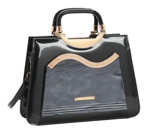 Bolsa feminina mão/transversal verniz Glamour Marmorizado preto Chenson 3027