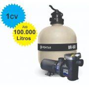 Filtro e Bomba 1CV Pentair BR-60 Piscina até 100.000 Litros
