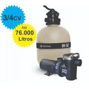 Filtro e Bomba 3/4CV Pentair BR-50 Piscina até 76.000 Litros