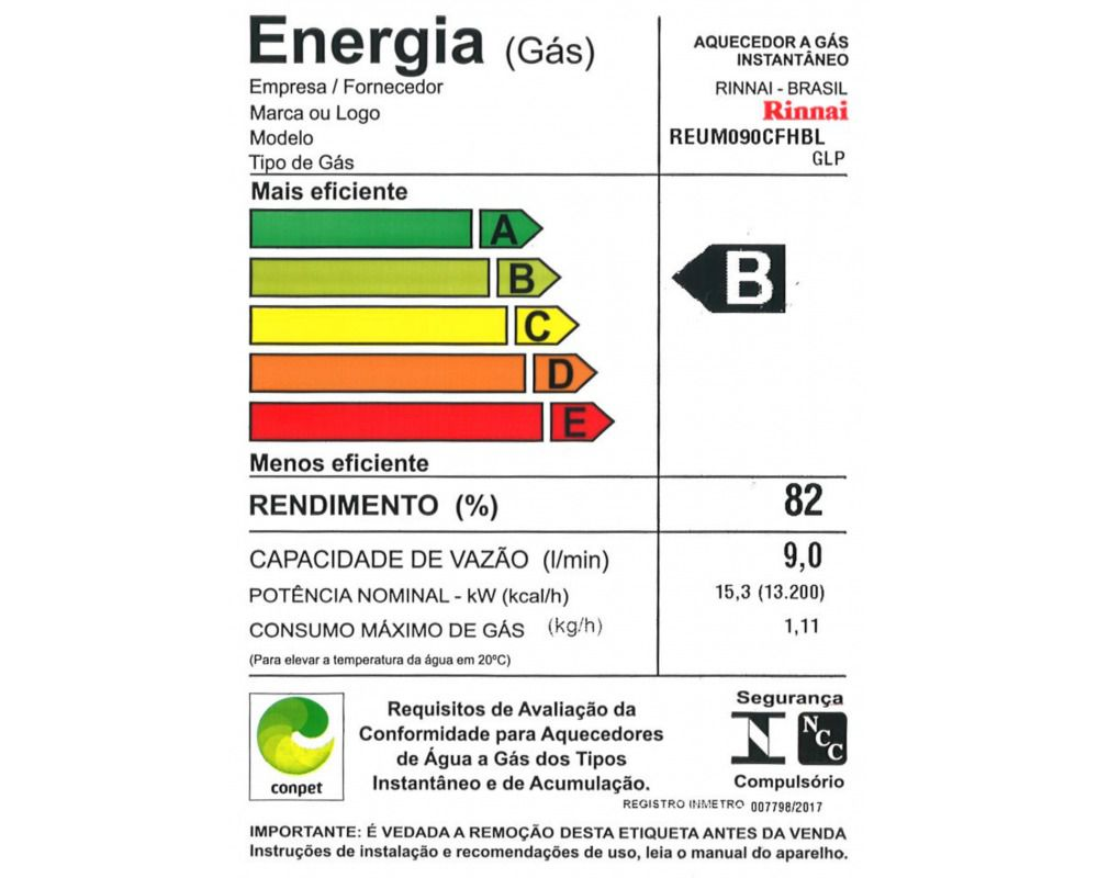 Aquecedor de Água Rinnai M09 - Vazão 9 L/min – Gás GN