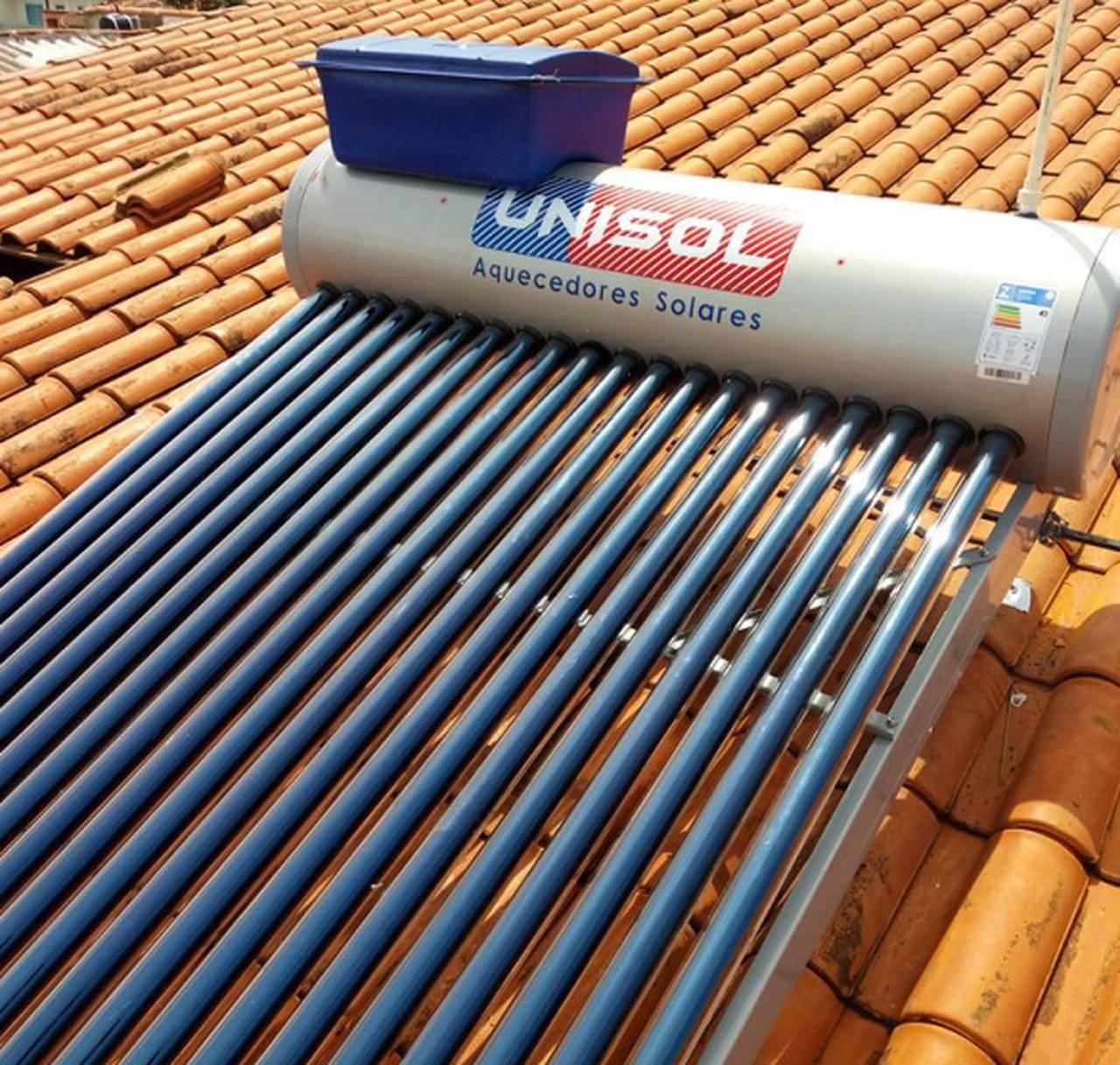 Aquecedor Solar a Vácuo 150 Litros UNISOL 15 Tubos + Caixa Auxiliar