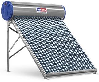 Aquecedor Solar a Vácuo 200 Litros UNISOL 20 Tubos Aço Inox 316 + Caixa Auxiliar