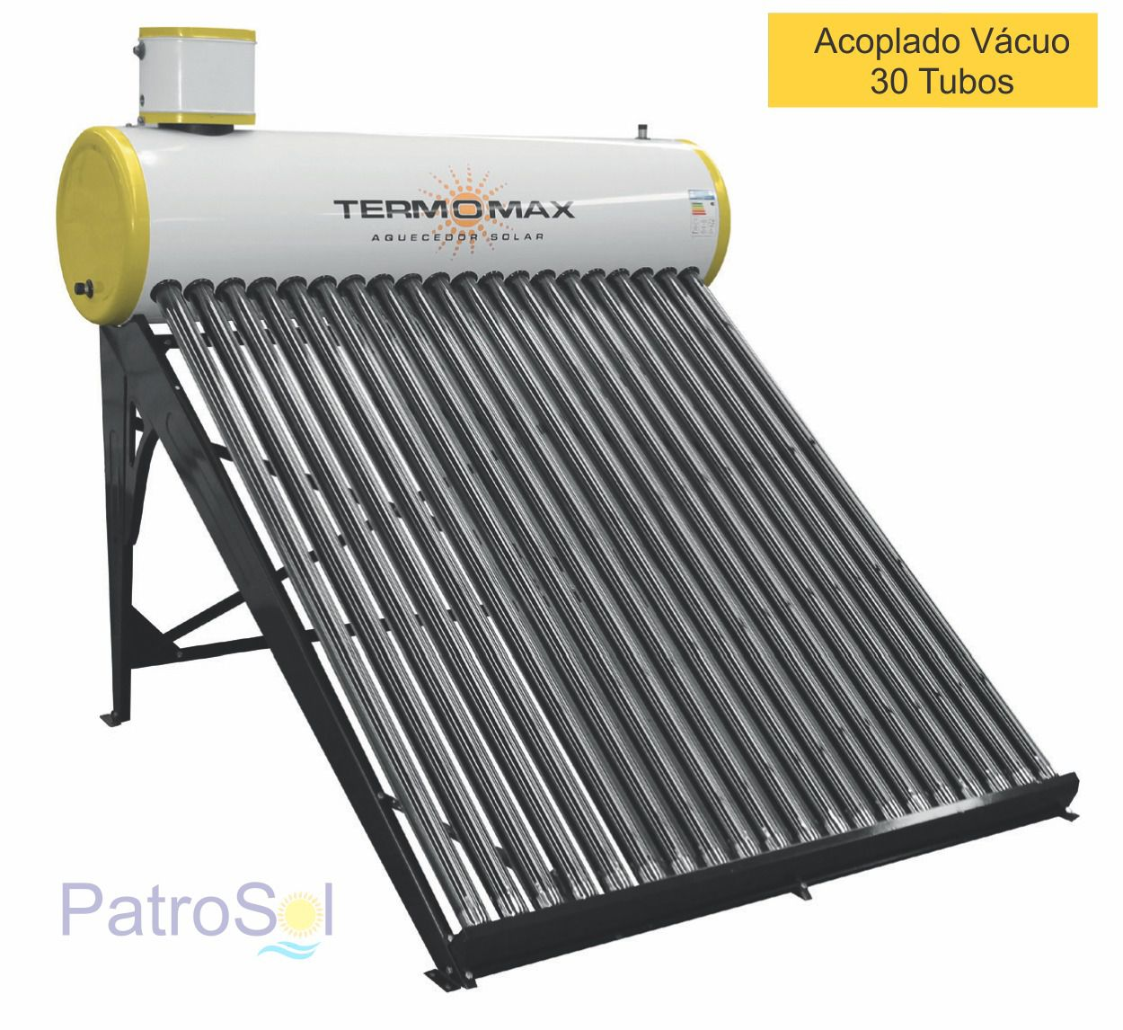 Aquecedor Solar Acoplado 300 Litros MAX VÁCUO 30 Tubos TERMOMAX