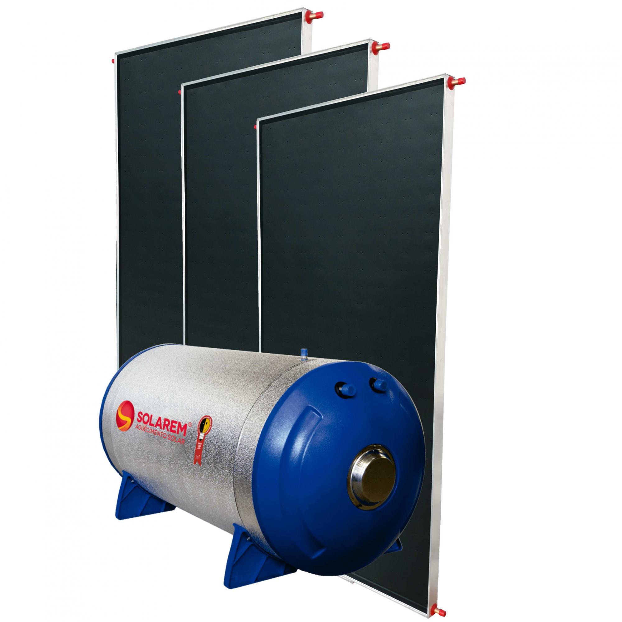 Aquecedor Solar Boiler 500 Litros Desnível Baixa Pressão + 3 Coletores 2x1m Vidro Termo Endurecido